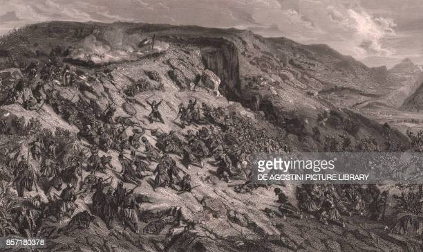 The French army conquers the Teniah de Mouzaia May 12 the ridges are surrounded by Zouaves commanded by Colonel Lamoriciere Algeria steel engraving...