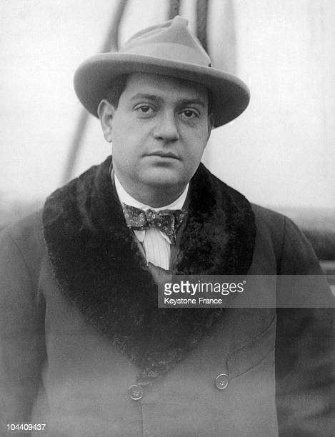 The French composer Darius MILHAUD arriving in New York on board the French liner SS ROCHAMBEAU around the 1930's