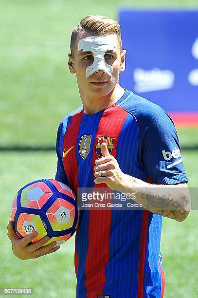 The French defender Lucas Digne during his launch after sign with the FCBarcelona as its new player on July 16 2016 in Barcelona Spain