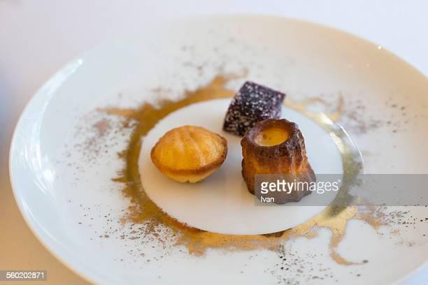 The French dessert: gummy,Madeleine and canelé