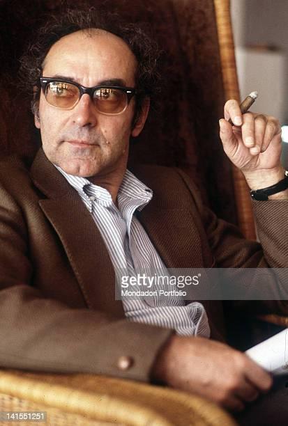 The French director Jean Luc Godard smoking a cigar 1983