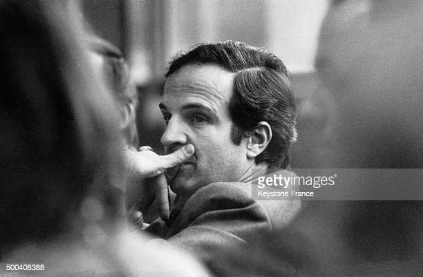The French film director Francois Truffaut attending the Swedish premiere of his film 'The Wild Child' on November 17 1970 in Stockholm Sweden