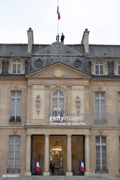 The French flag flies at half mast at the Elysee presidential Palace in Paris on May 24 2017 in tribute to the victims of the May 22 terror attack at...