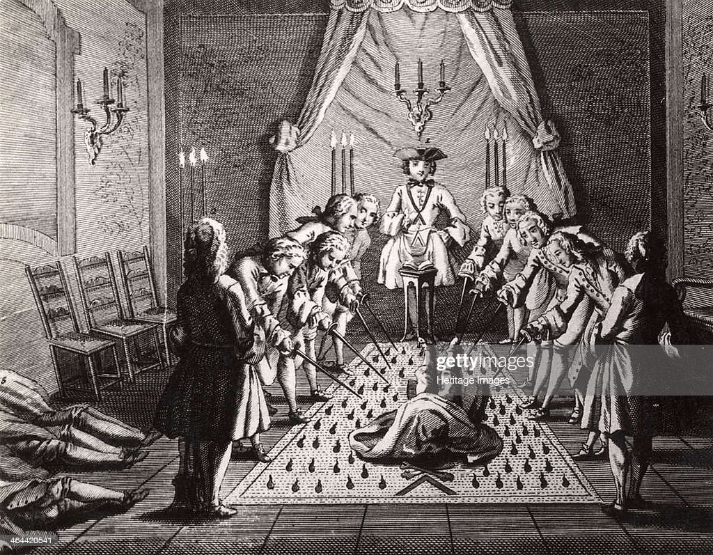 The French Freemasons initiation ceremony 18th century From a private collection
