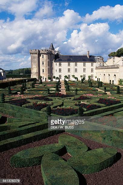 The French gardens of Chateau de Villandry 16th century Centre France