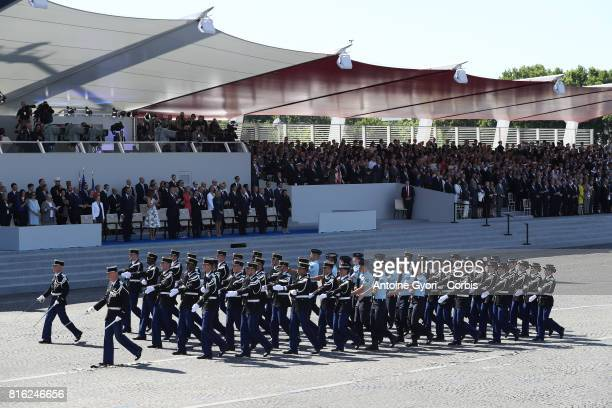 the French Gendarmerie battalion march down the Concorde Place during the annual Bastille Day militaryon July 14 2017 in Paris France Members of the...