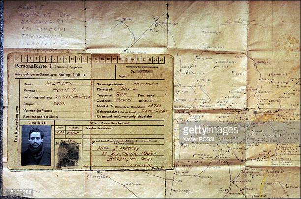 The French heroes of DDay in France in March 2004 Henri Mathey Dday pilot Stalag Luft 3 prisoner card with a reproduction of the map of which allowed...