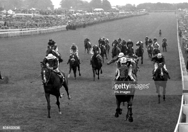 The French horse Lavandin ridden by Rae Johnstone passes the post to win the 1956 Derby In second place is Montaval F Palmer up