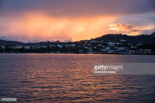 The French island of MAYOTTE struggling with poverty insecurity and illegal immigration from Comoro sunset on Mamoudzou on February 23 2017