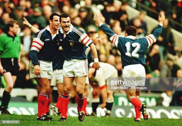 The French LR Christophe Lamaison and Alain Penaud celebrate after their 2023 win in the Five Nations Championship at Twickenham this afternoon Photo...