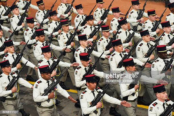 The French marching contingent of the 35th Infantry Regiment of the French Army march during India's Republic Day parade in New Delhi on January 26...