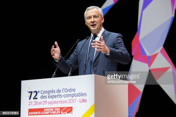 The French Minister of Economy is photographed for Paris Match speaking at the 72nd Congress of the Association of Chartered Accountants in Lille on...