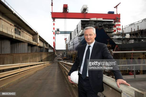 The French Minister of Economy is photographed for Paris Match at the shipyard STX of SaintNazaire on September 28 2017