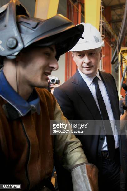 The French Minister of Economy is photographed for Paris Match with the workers of the shipyard STX of SaintNazaire on September 28 2017