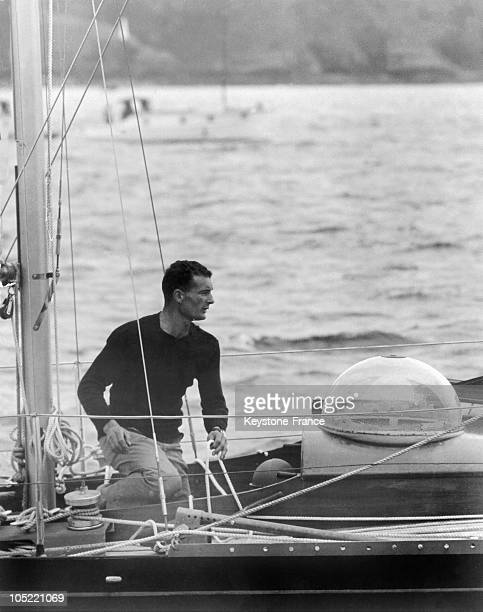 The French Navigator Eric Tabarly In Plymouth Preparing For The Ostar A Solo Transatlantic Race Linking Plymouth To Newport On Board His PenDuick Ii...