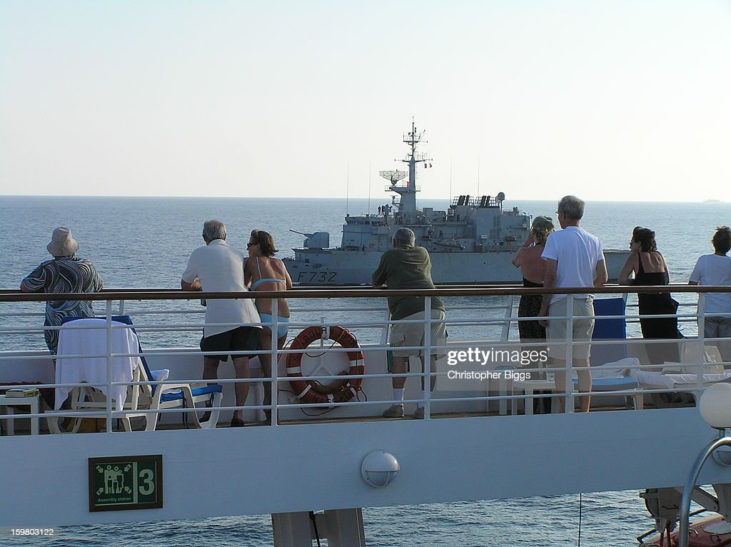 CONTENT] The French Navy Floreal Class small patrol frigate F732, The Nivose, from on board the Seabourn Spirit. This image was taken while the Nivose was protecting a convoy of ships sailing through the Gulf of Aden, near Somalia, just after one of the most brazen hijacking by pirates of a supertaker for a ransom in October 2008.