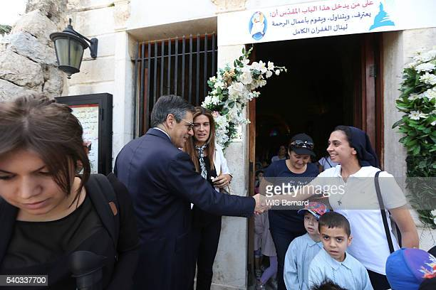The french politician Francois Fillon on visit in the Middle East to support the Christians of East who fight against Daesch With a teacher at the...