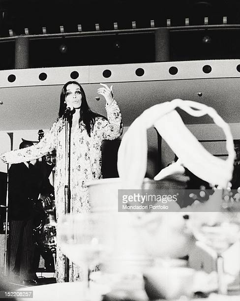 The French singer and actress Marie Laforet singing during a show San Remo September 1968