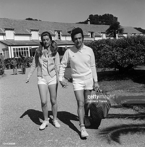 The French singer SHEILA being accompanied by her future husband tennis instructor Pierre COHEN on April 14 1970