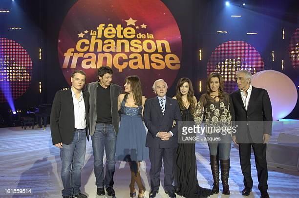 The French Song Festival 2007 Daniela LUMBROSO qui présente l'émission 'La fête de la chanson française' posant sur la scène du Zénith à PARIS...
