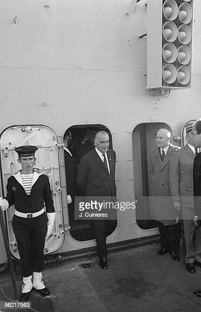 The French statesman Georges Pompidou visiting the 'Clemenceau' in Toulon with Michel Debre 1971