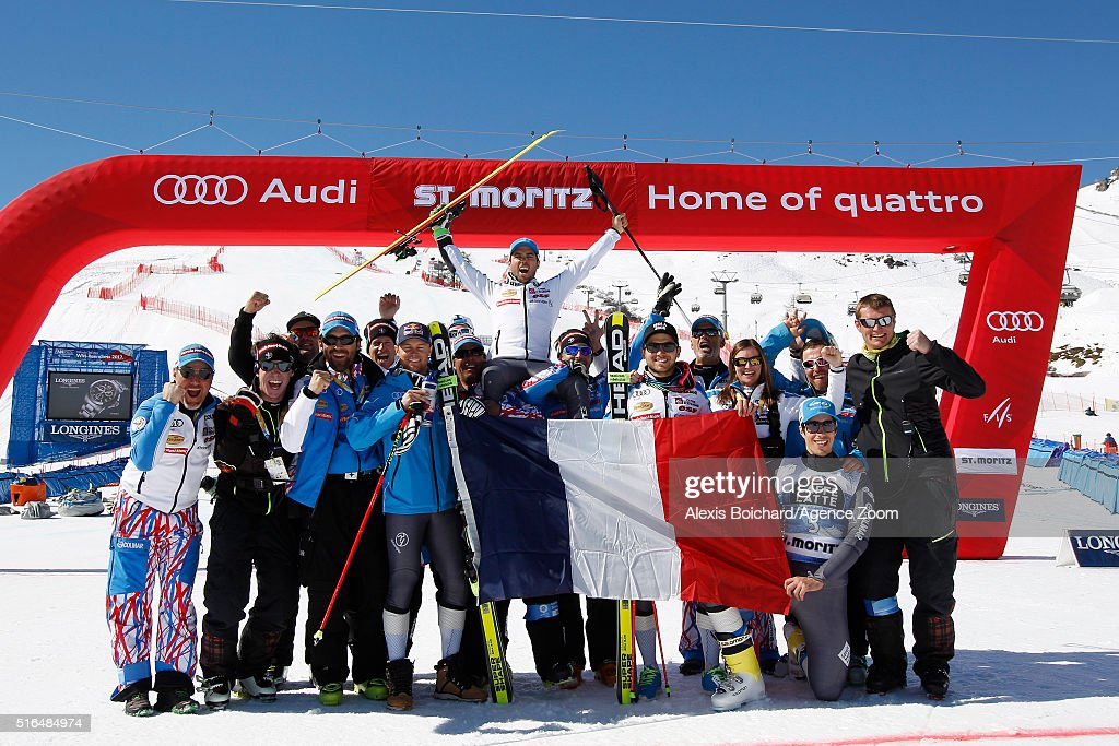 The French team celebrate a clean sweep with Thomas Fanara taking 1st place, Alexis Pinturault taking 2nd place and Mathieu Faivre taking 3rd place during the Audi FIS Alpine Ski World Cup Finals Men's Giant Slalom and Women's Slalom on March 19, 2016 in St. Moritz, Switzerland.