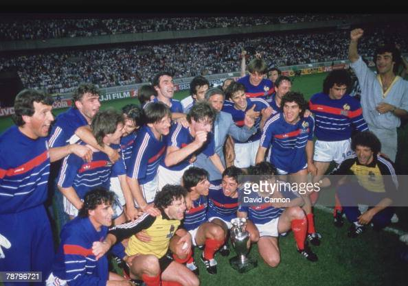 The French team celebrate their 21 victory over Spain in the final of the UEFA European Football Championship at the Parc des Princes Paris 27th June...