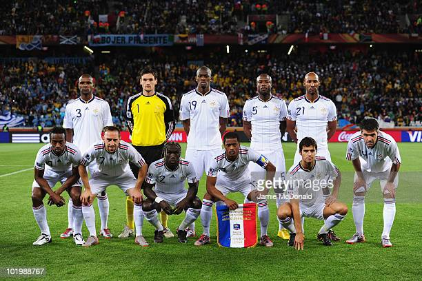 The French team line up ahead of the 2010 FIFA World Cup South Africa Group A match between Uruguay and France at Green Point Stadium on June 11 2010...