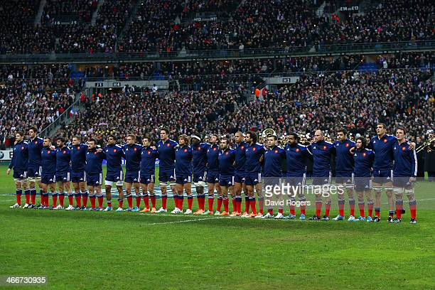 The French team line up during the national anthem during the RBS Six Nations match between France and England at Stade de France on February 1 2014...