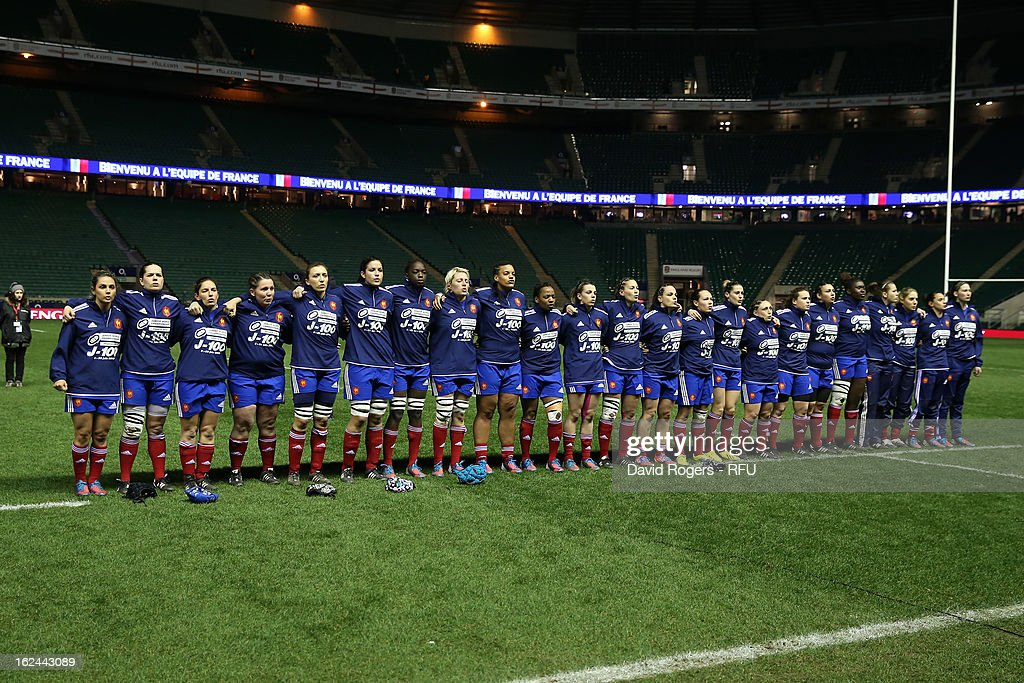The French team line up during the Women's RBS Six Nations match between England and France at Twickenham Stadium on February 23, 2013 in London, England.