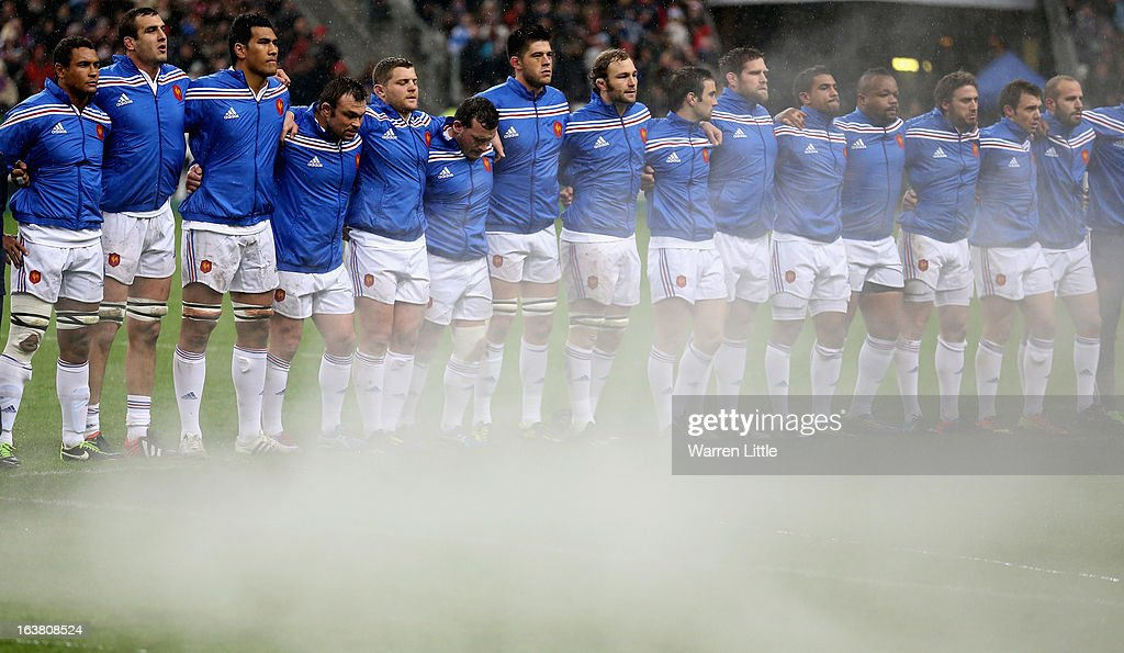 The French team line up for the anthems ahead of the RBS Six Nations match between France and Scotland at Stade de France on March 16, 2013 in Paris, France.