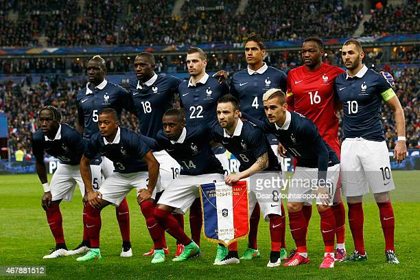 The French team line up prior to the International Friendly match between France and Brazil at the Stade de France on March 26 2015 in Paris France