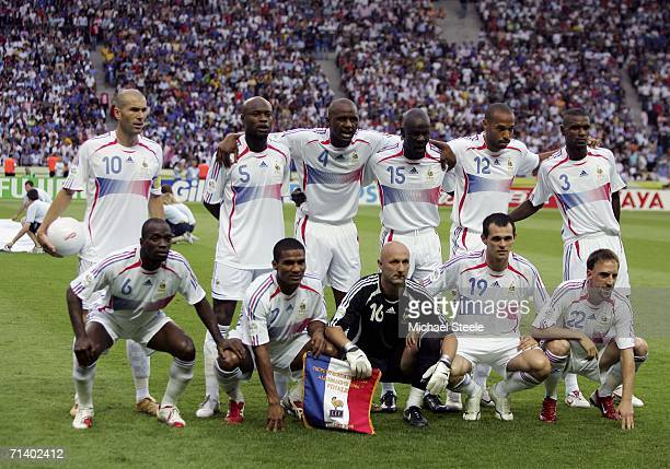 The French team pose for the cameras prior to kickoff during the FIFA World Cup Germany 2006 Final match between Italy and France at the Olympic...