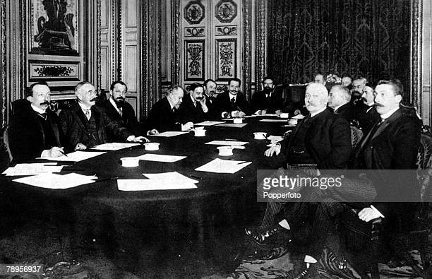 France World War Two Circa 1940 The French war time cabinet seated around a table They are LR Berard Guist'hau Steeg Poincare Klotz Dupuy Le Brun...