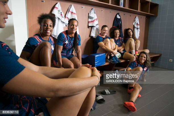 The French women's rugby team in training in Marcoussis on July 27 2017 From left to right Romane Menager Julie Annery Safi N'Diyaye Manon Andre...