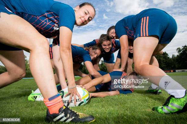 The French women's rugby team in training in Marcoussis on July 27 2017 From left to right Yanna Rivoalen Elodie Poublan Annaelle Deshayes Caroline...