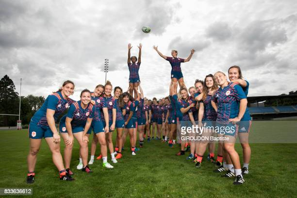 The French women's rugby team in training in Marcoussis on July 27 2017 From left to right Chloe Pelle Carla Neisen Elodie Poublan Audrey Abadie...