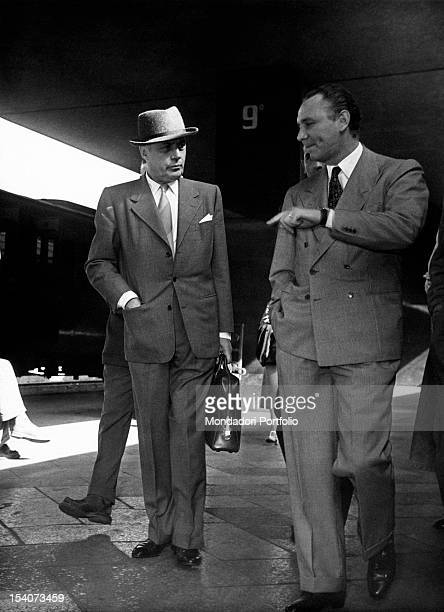 The Frenchborn American actor Charles Boyer arriving at Rome station to act in the film What a Woman Rome 1955