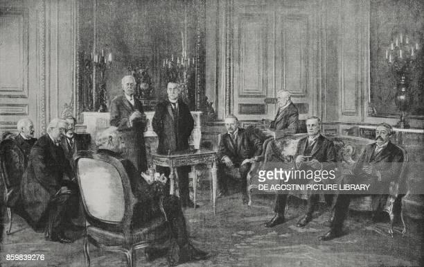 The FrenchEnglish Council of Ministers meeting in Paris from left Admiral Lacaze Asquith De Margerie Joffre Balfour Gallieni George Lloyd Lord Bertie...