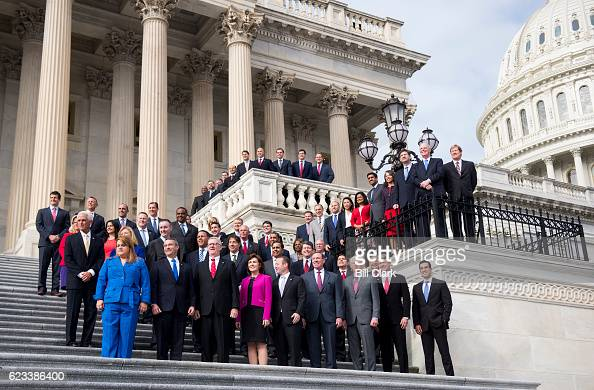 The freshman class of the 115th Congress poses for their group photo on the House steps of the US Capitol during orientation week in Washington on...