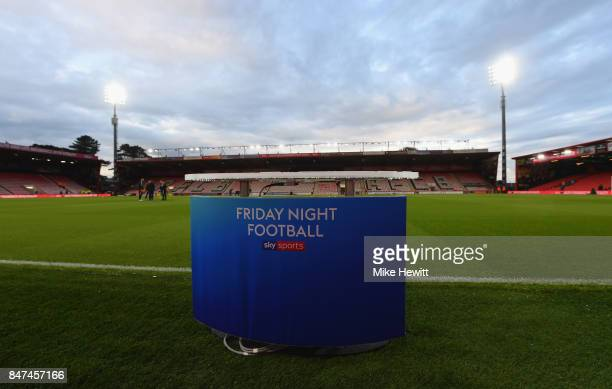 The 'Friday Night Football' plinth is seen prior to the Premier League match between AFC Bournemouth and Brighton and Hove Albion at Vitality Stadium...