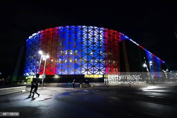 The Friends arena in Solna near Stockholm is lit with national colours of France ahead the Euro 2016 playoff football match between Sweden and...
