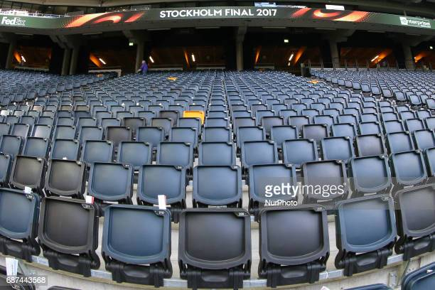 The Friends Arena Stadium decorated in UEFA signage ahead of the UEFA Europa League Final between Ajax and Manchester United at Friends Arena on May...