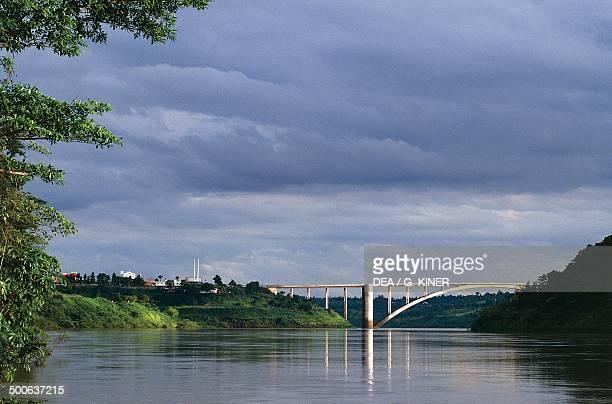 The Friendship Bridge over the Parana River connecting the Brazilian city of Foz do Iguacu and the Paraguayan city of Ciudad del Este