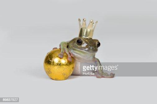 The frog prince and gold ball, studio shot