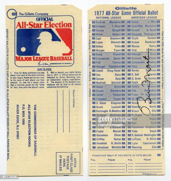 The front and back of the official ballot for selecting the members of the National League and American League teams for the Majoe League Baseball...