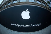The front barricade of the Apple Store Hanover on September 12 2014 in Hanover Germany
