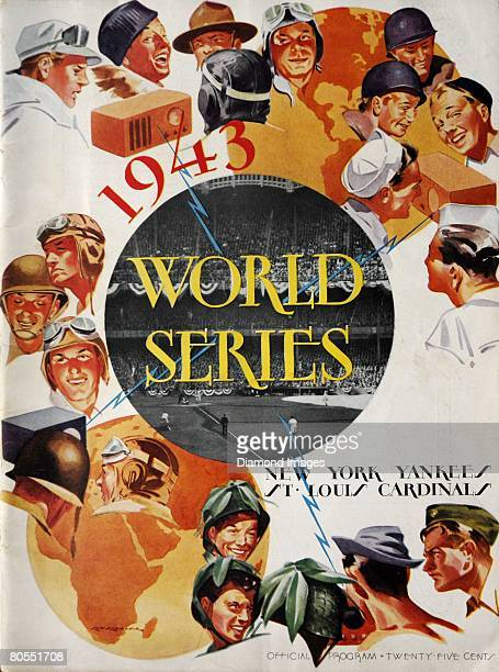 The front cover for the official program for the 1943 World Series between the St Louis Cardinals and the New York Yankees in October 1943 and the...