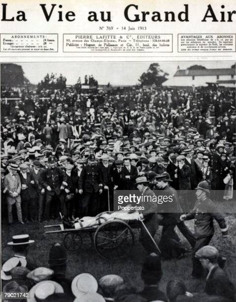The front cover of the 14th June 1913 edition of the French periodical La Vie au Grand Air showing the injured jockey Herbert Jones who rode King...