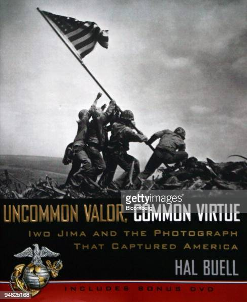 The front cover of the book Uncommon Valor Common Virtue the story of the famous Iwo Jima flagraising by author Hal Buell is pictured in New York on...